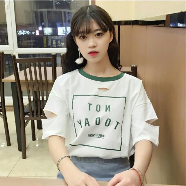 (預購)韓國百搭原宿破洞字母個性上衣