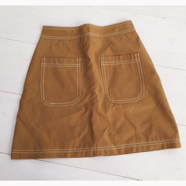 雙口袋高腰短裙 實品拍攝