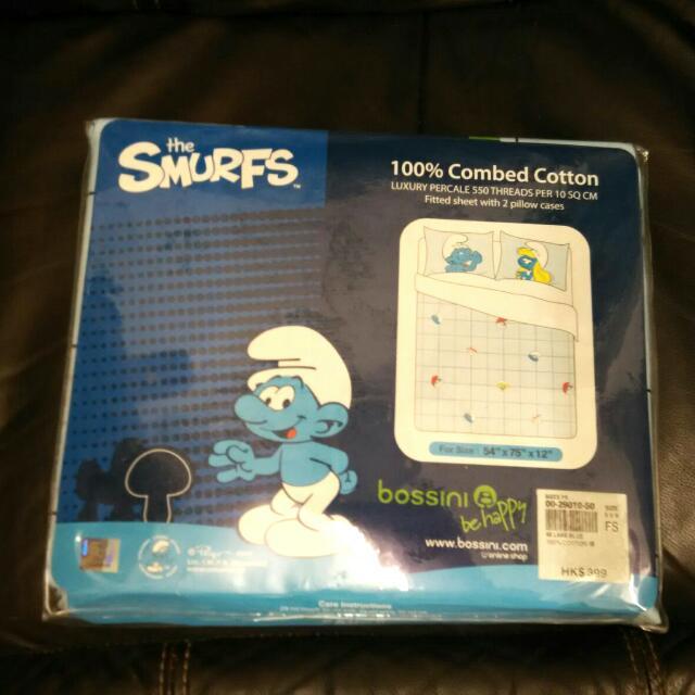 全新 藍精靈枕頭套連床單