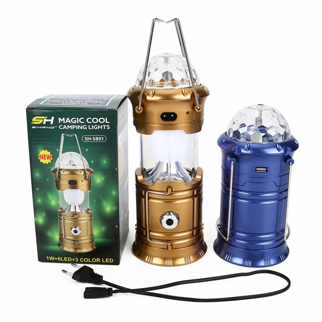 金色 三合一露營燈(七彩舞台、馬燈、手電筒) SL-5801