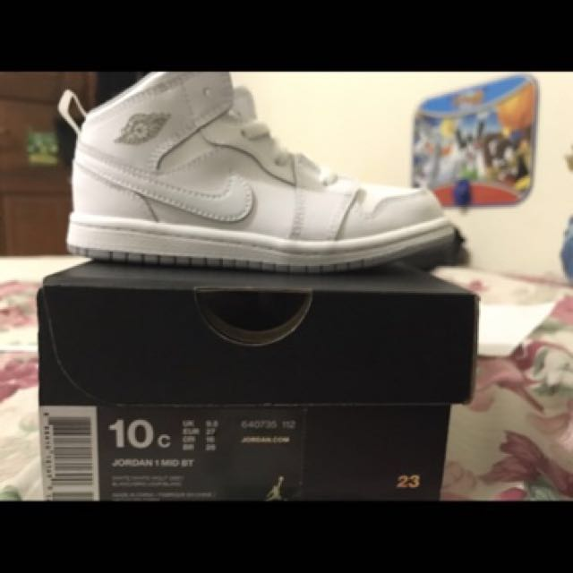 1c9356fd99da7 air jordan 1 mid white size 10c toddler