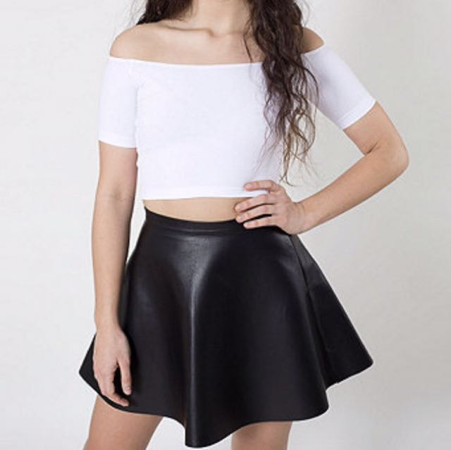 AMERICAN APPAREL BLACK LEATHER SKIRT
