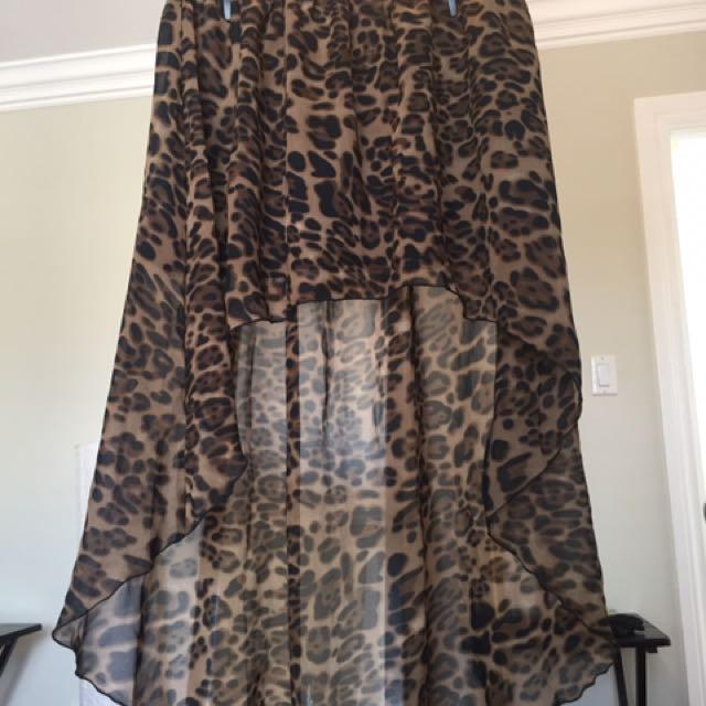 Animal Print High/Low Skirt