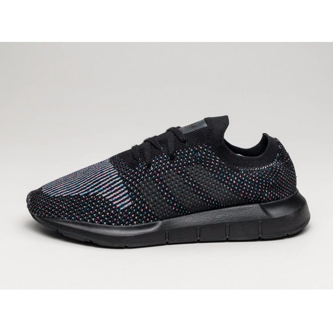 autentico adidas swift run primeknit triple black, moda maschile