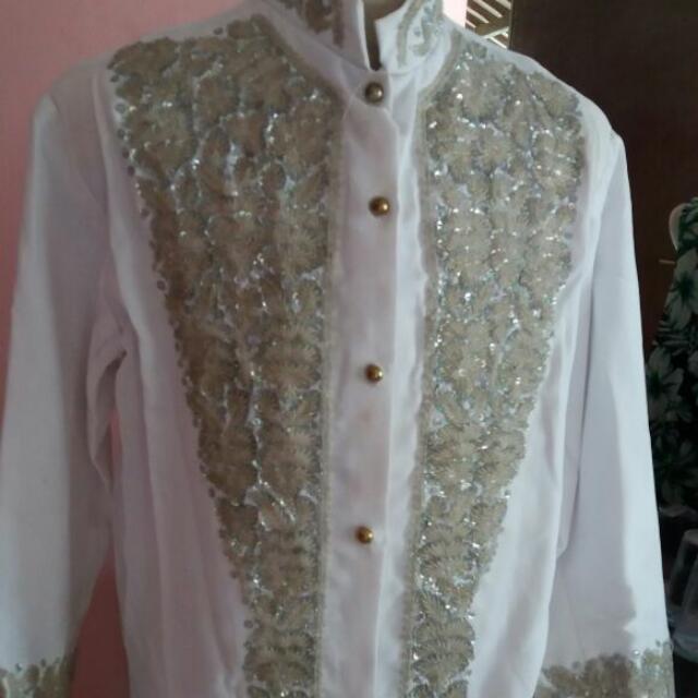 Baju Pengantin Cowo Full Payet Putih
