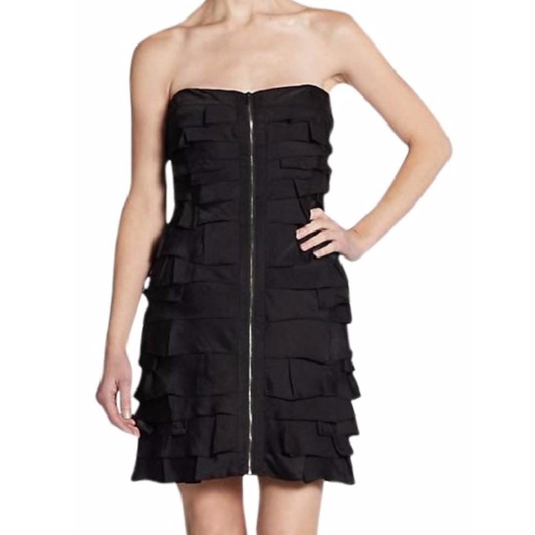 BCBG - Strapless Tiered Front-Zip Cocktail Dress (US 0)