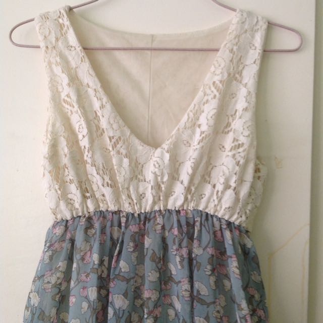 bkk cream florals dress