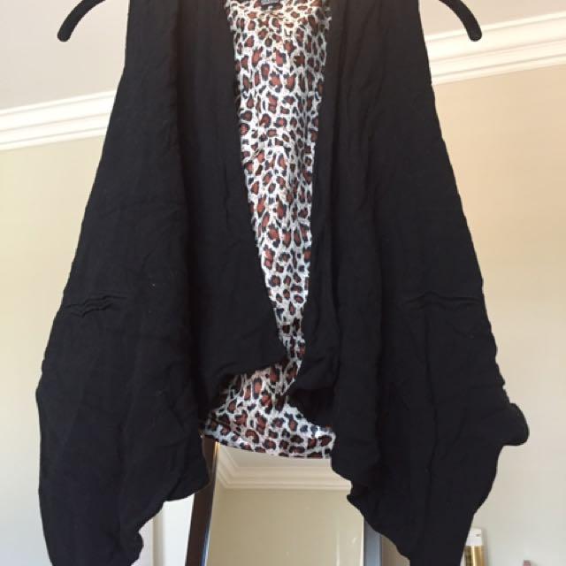 Black And animal Print Vest