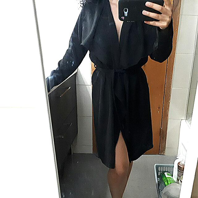 Fashion Nova Black Duster Coat