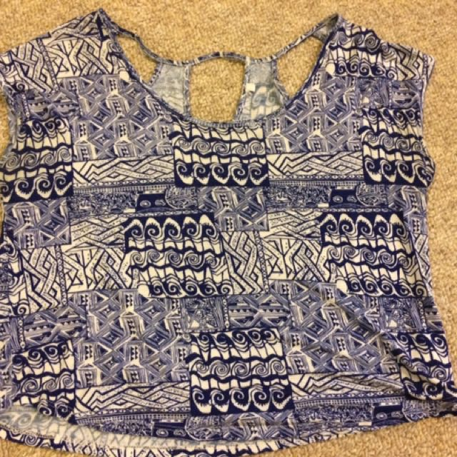 Blue & White Tribal Crop Top
