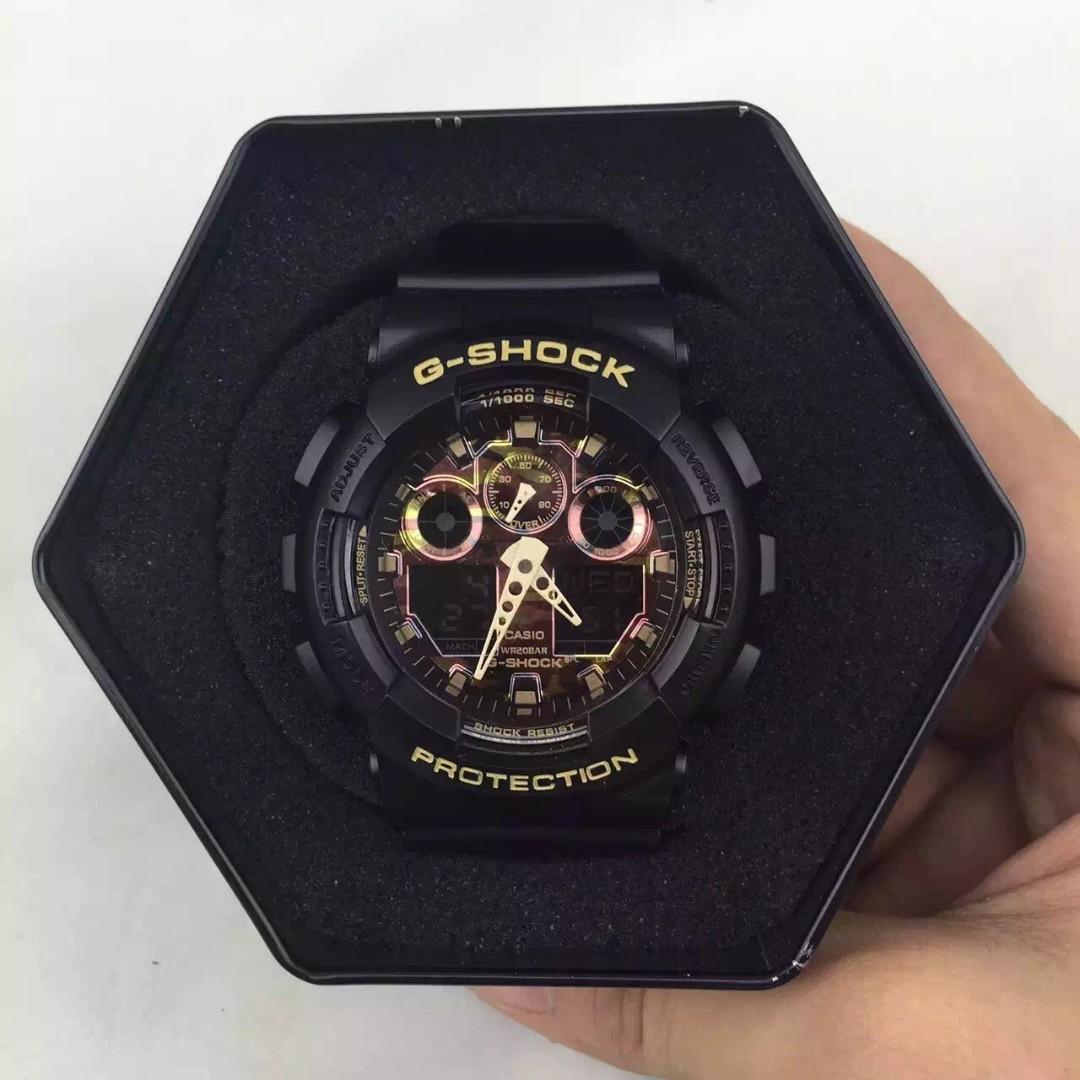 Casio 手錶 G-SHOCK GA-100 黑迷彩金 運動手錶 情侶對錶 BABY-G 手錶