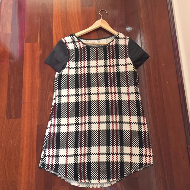 Checkered T-shirt Dress
