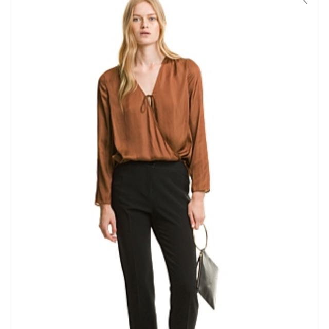 Country Road Satin Wrap Top