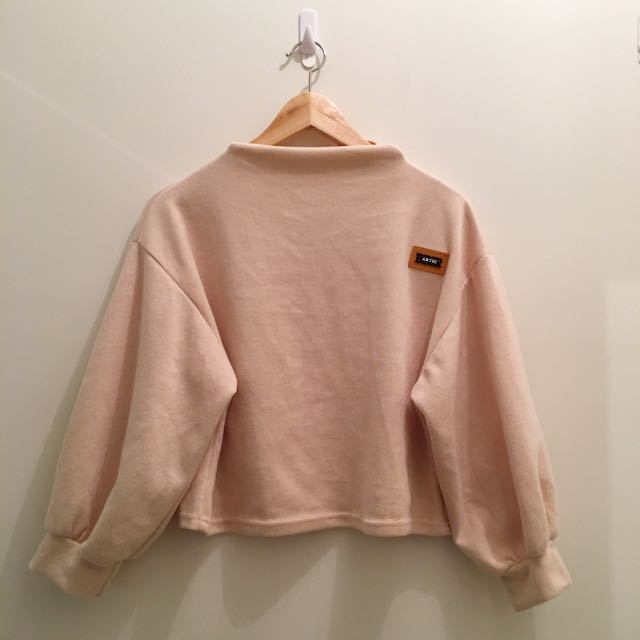 Cute Apricot Crop Sweater