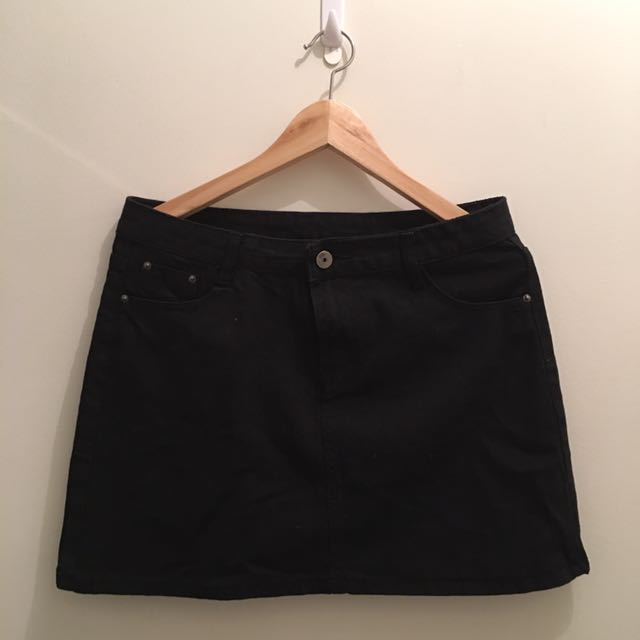 Cute Black Denim Mini Skirt