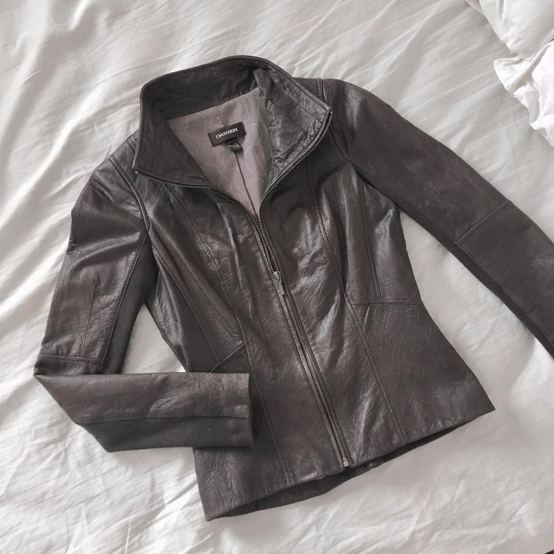 Danier - Dark Brown Leather Moto Jacket