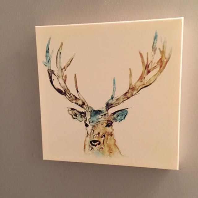 Deer Painting on Canvas 14""