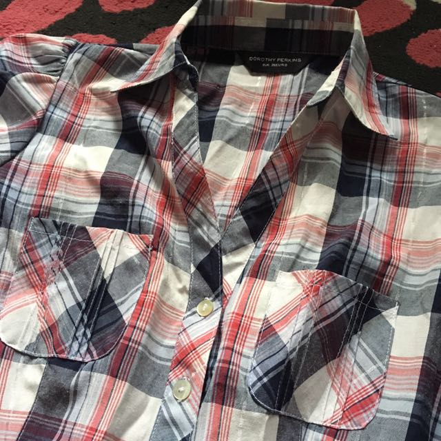 Dorothy Perkins Checked Blouse With Gathers