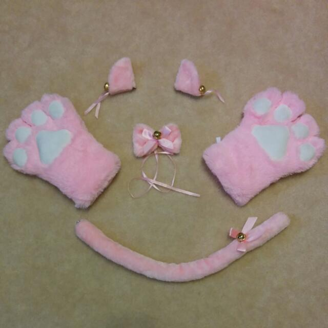 Fuzzy Pink Cat Cosplay Costume Stuff
