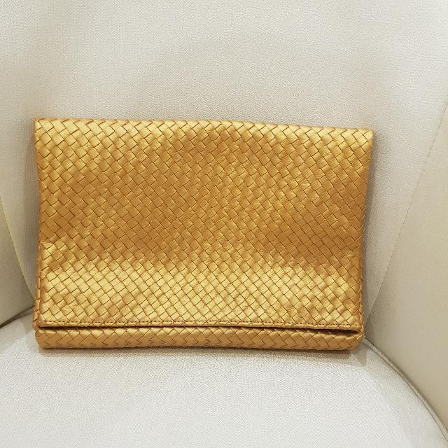 Glam Gold Woven Clutch