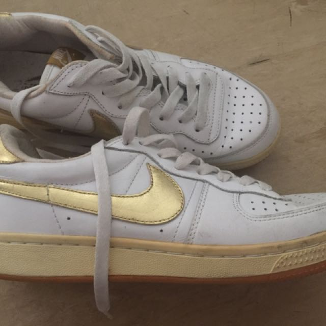 Gold & White Nike Sneakers