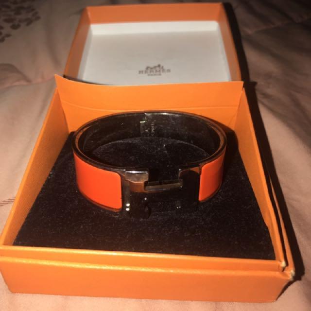 Hermes Clic Clac Bracelet In Orange