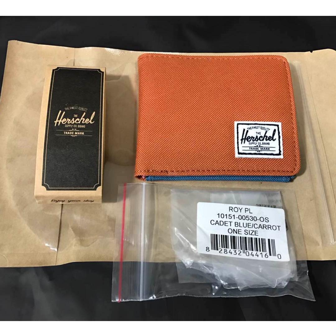 「現貨」Herschel Roy Wallet 皮夾 短夾 帆布 輕薄 紅蘿波橘/水藍