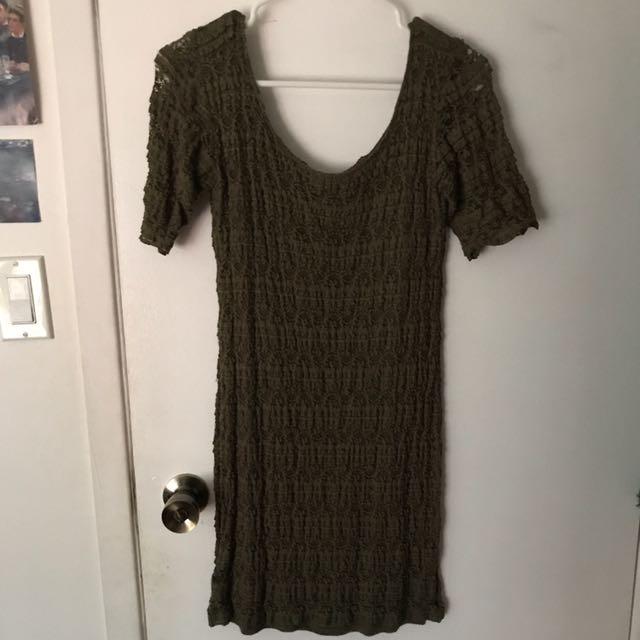 H&M Size 6 Lace Green Dress