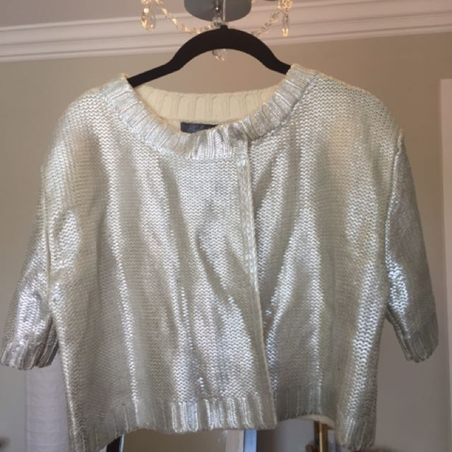 Knit Cardigan With A Silver Shine