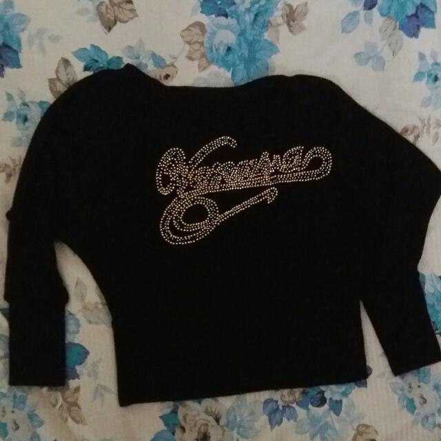 Knitted Crop Top (Hitam)