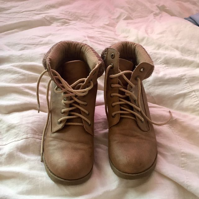 Lace Up Brown Boots