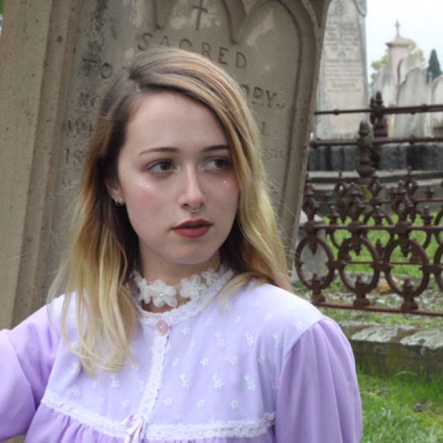 Lilac Purple Floral Lace Vintage Bed Jacket Melanie Martinez Style