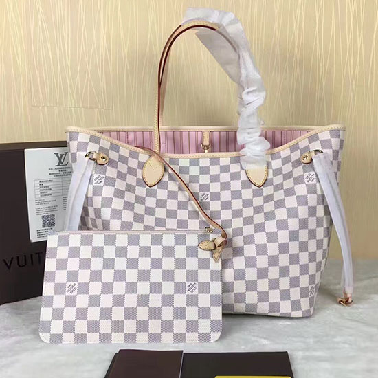 93025c62b91f Louis Vuitton Damier Azur Canvas Neverfull MM N41605 on Carousell