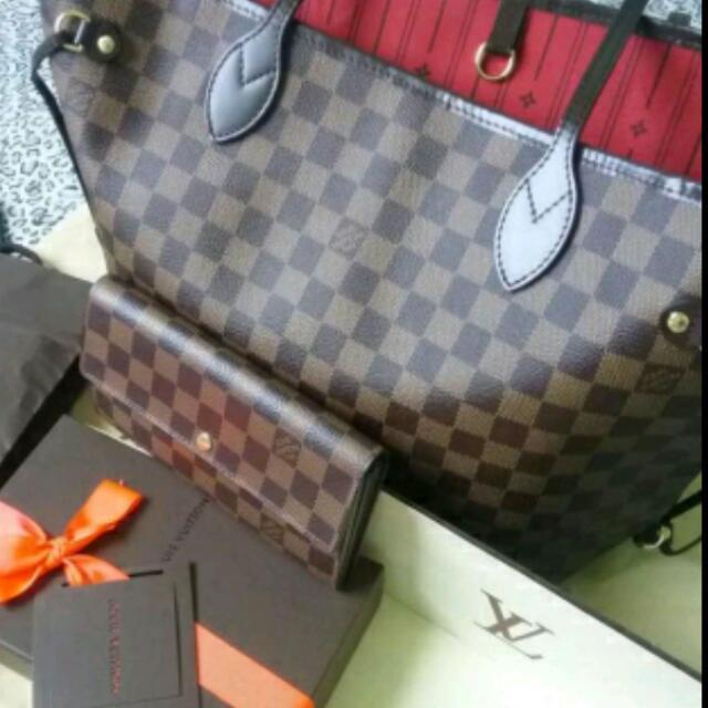 Louis Vuitton Demier Ebene Neverfull And Sarah Wallet