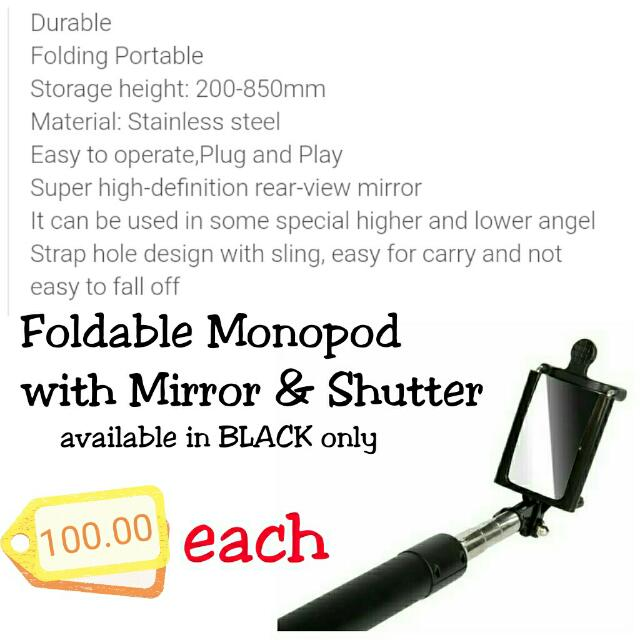 Monopod with Mirror & Shutter