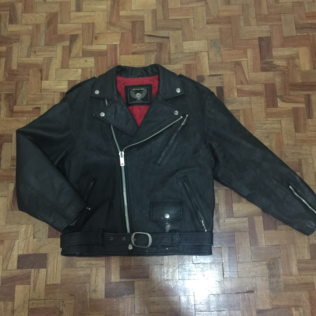 Genuine leather Black and red chanel interior motorcycle biker jacket