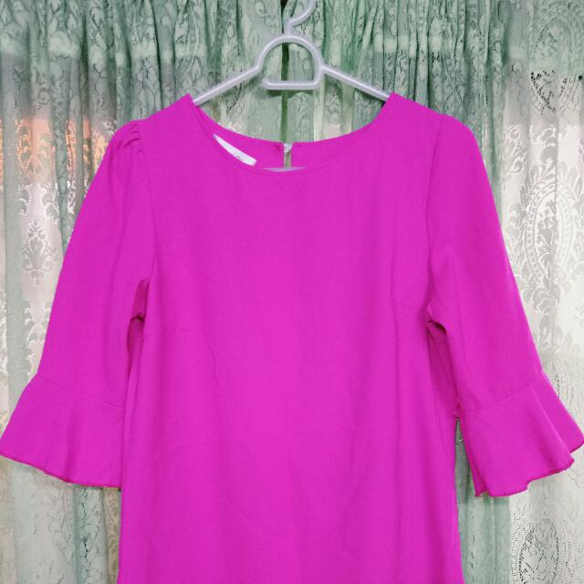 Neon pink blouse (workwear, smart casual)