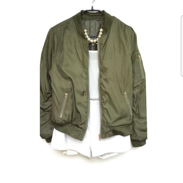 c7c1be53466 Olive Green Silk Bomber Jacket on Carousell