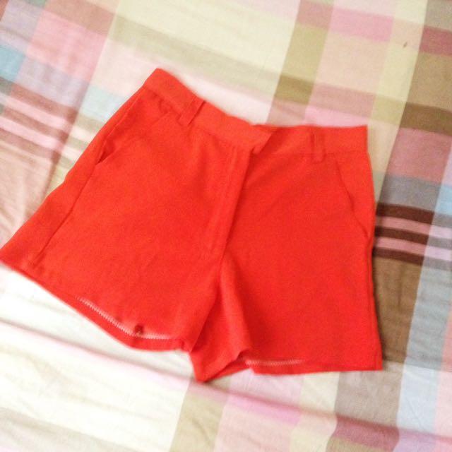Orange High Waist Shorts