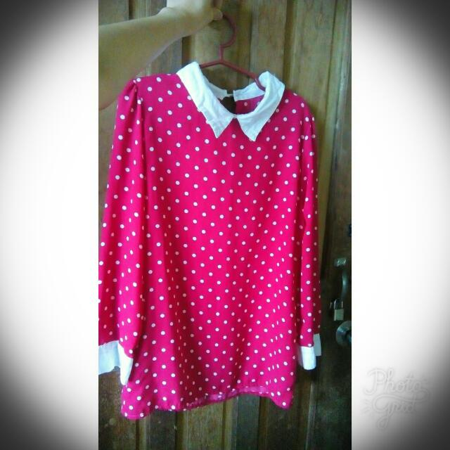 (PRELOVED) Polka Dots Longsleeve Blouse