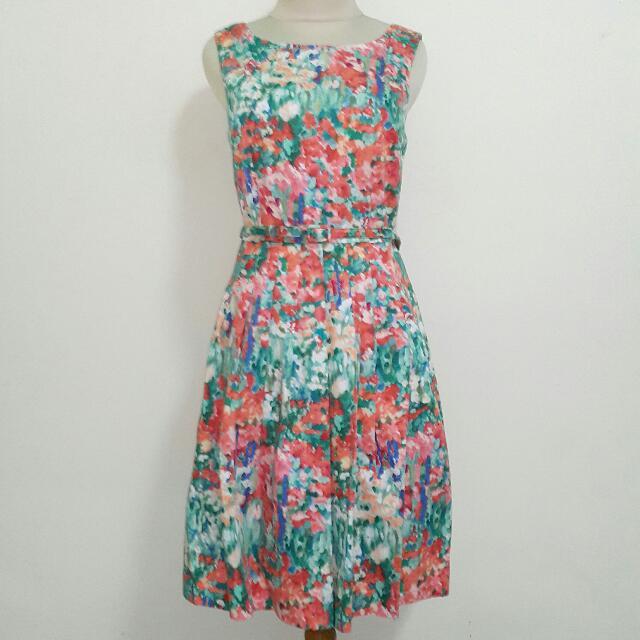 Preloved Talbot Abstract Flower Pleats Dress