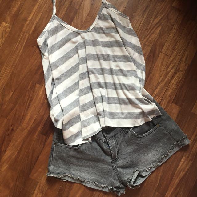 Striped Sleeveless Top + Shorts