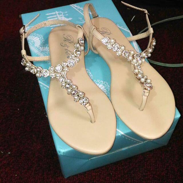 珍珠水鑽優雅T字寶石平底涼鞋 38/24 #我有涼鞋要賣