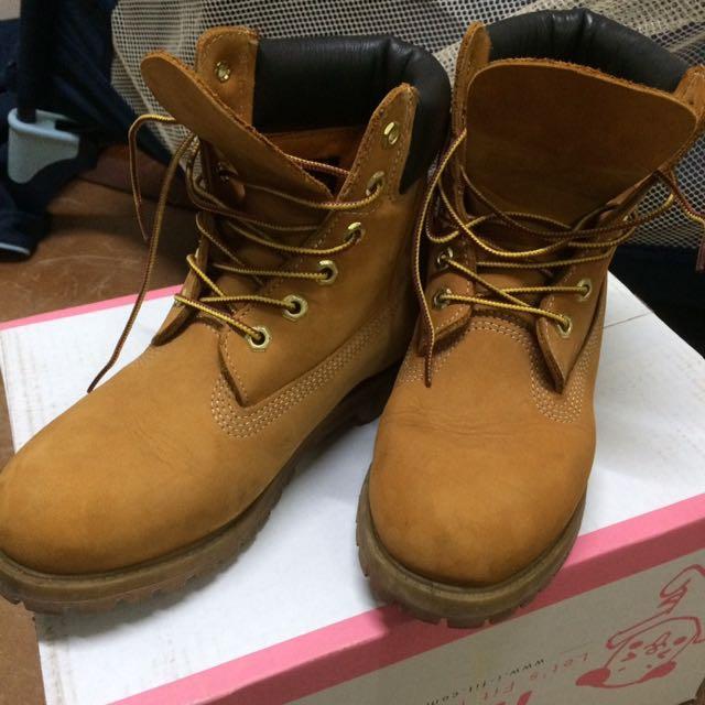 Timberland 黃靴 7.5 女鞋