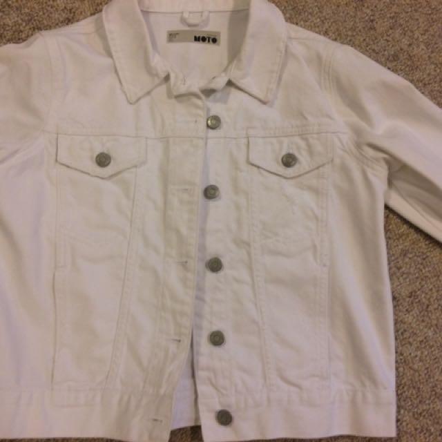 Topshop White Denim Moto Jacket
