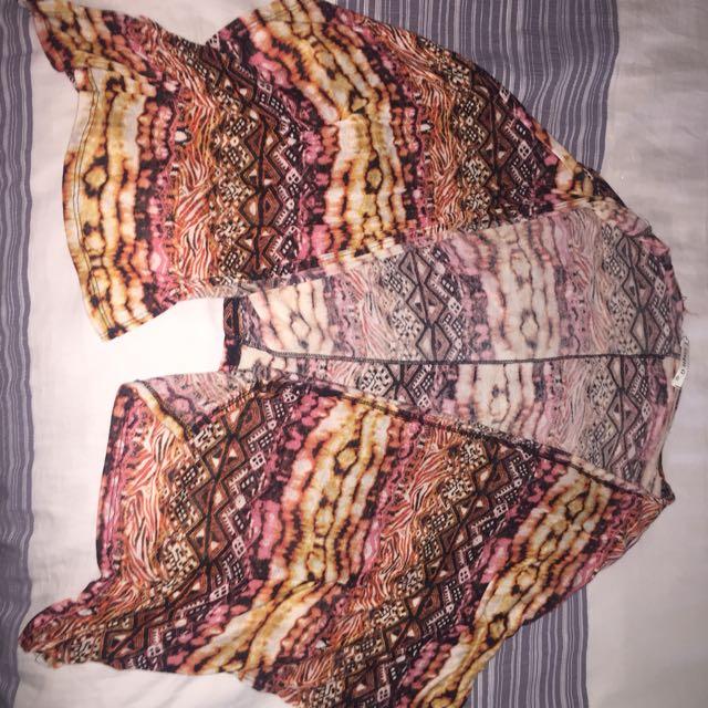 Tribal Pattern Hip- Length Cardigan