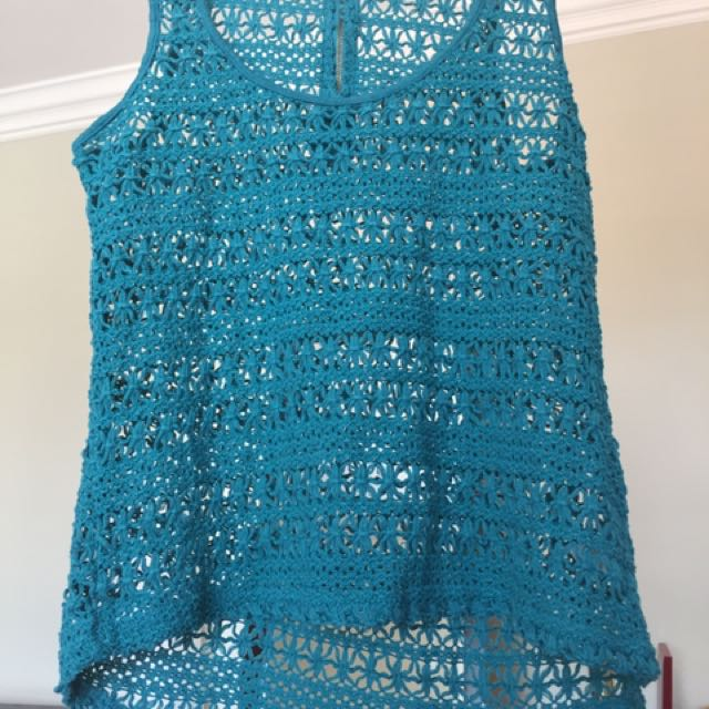 Turquoise Net Tank Top