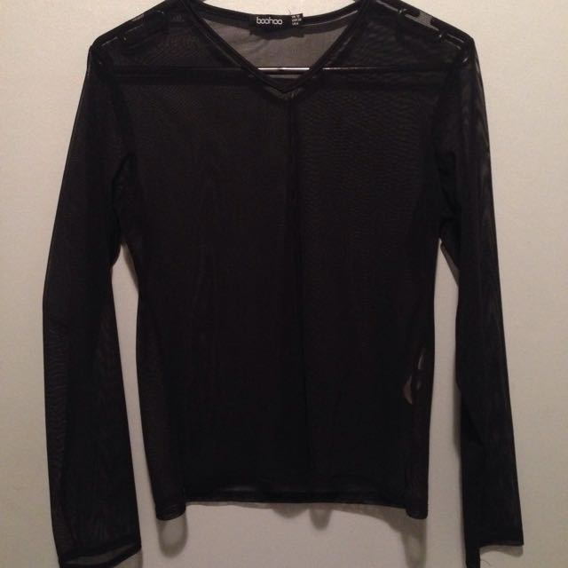 Uk Size 10 Black Mesh Long Sleeve Top.