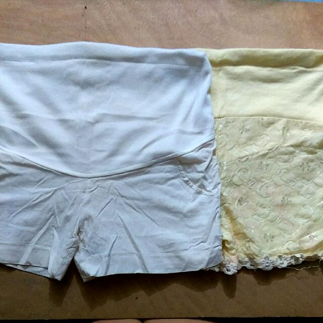 White And Yellow High Waist Shorts