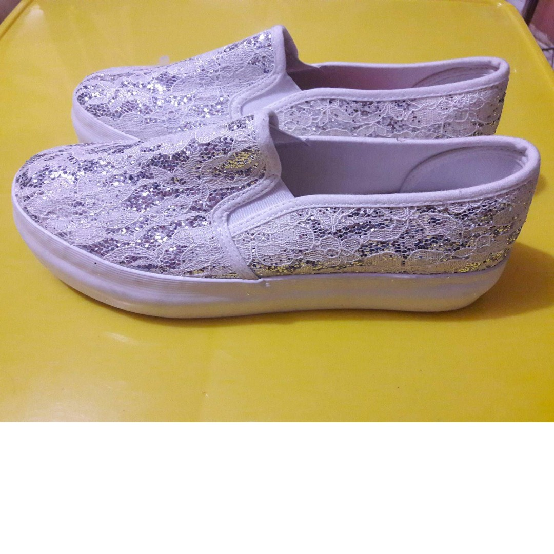 White lace Sneakers with Glitters